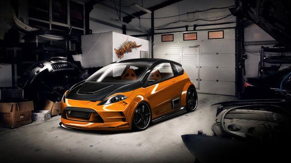 Обои Тюнингованная Ford Fiesta RS в гараже
