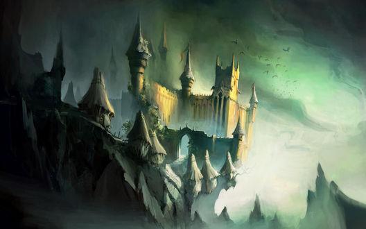 Обои Небольшая деревушка и замок на скале