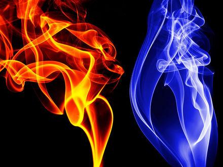Обои Оранжевый и синий дым