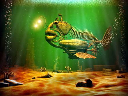 Обои Железная рыба под водой в стиле стимпанк