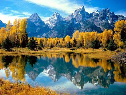 Обои Осень. Горное озеро