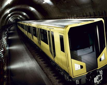Обои Желтый поезд метрополитена