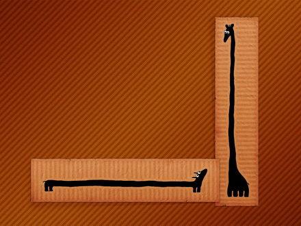 Обои Жираф и такса (длина и высота)