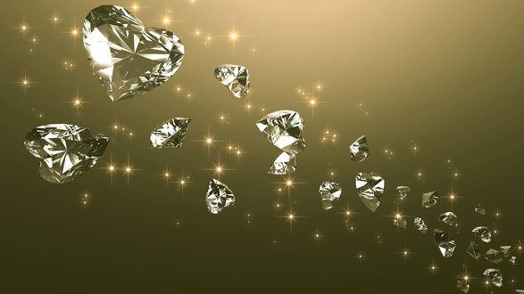Обои Бриллиантовые сердечки