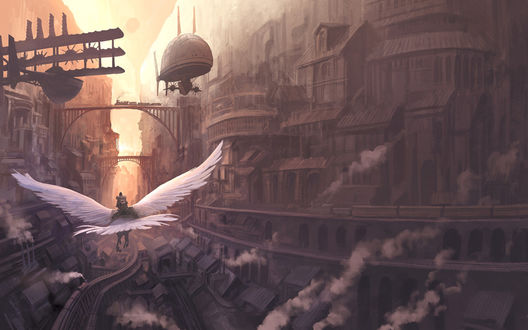 Обои Странник на орле летит по огромному неприветливому городу
