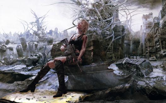 Обои Девушка сидит с пулемётом в разрушенном городе