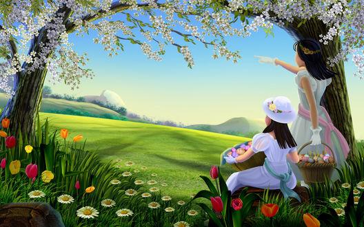 Обои Девочки с корзинами пасхальных яиц смотрят вдаль