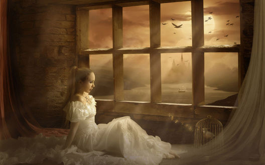 Обои Девушка в свадебном платье сидит у окна