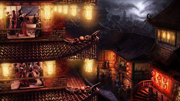Обои Нарисованный древний Японский город.