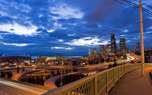 Обои Мегаполис, фотография сделанная с моста