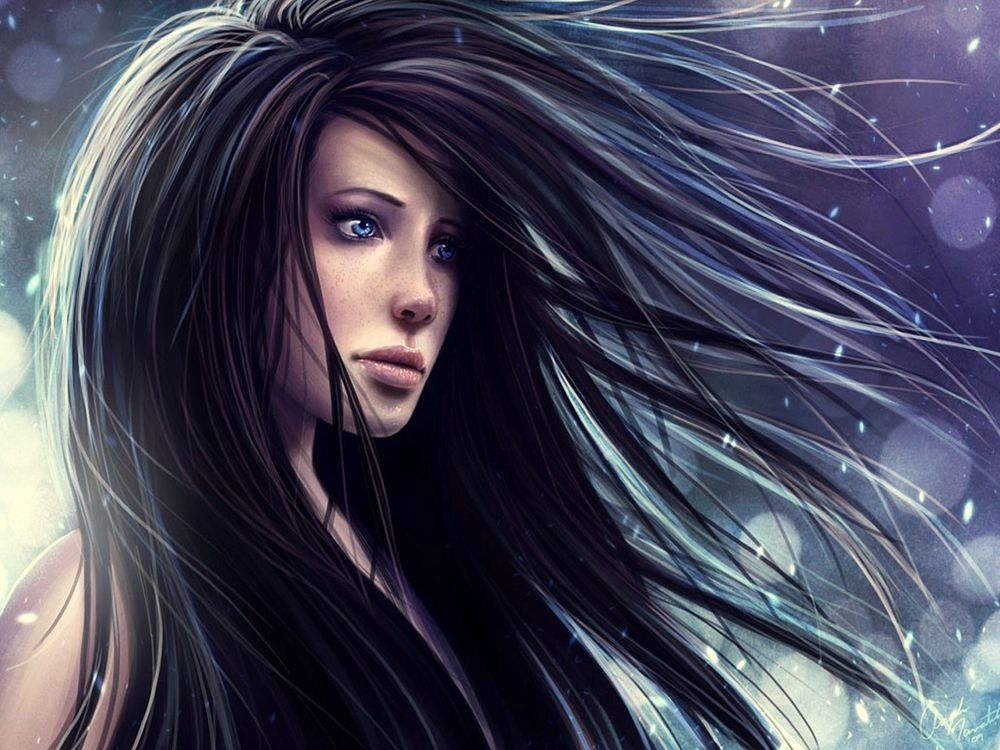 Обои для рабочего стола Девушка с голубыми глазами и длинными волосами