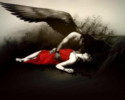 Обои Темный ангел спасает любимую