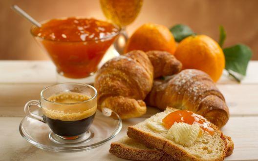 Обои Завтрак с джемом, круассанами и кофе