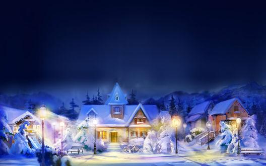Обои Уютный снежный город вечером