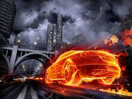 Обои Автомобиль из огня мчит по городу