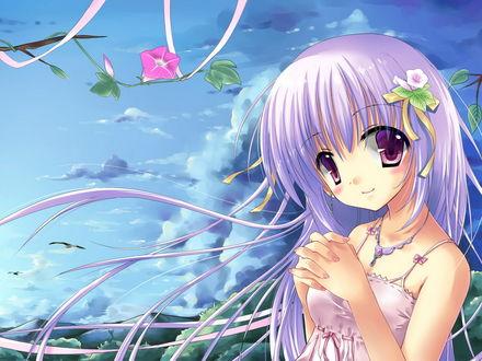 Обои Девушка с цветком в волосах