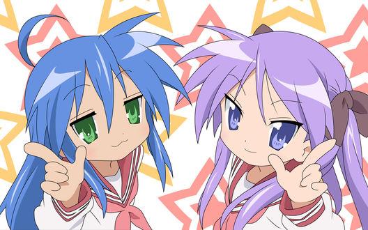Обои Коната и Когами, аниме 'Лаки Стар' ('Счастливая звезда')