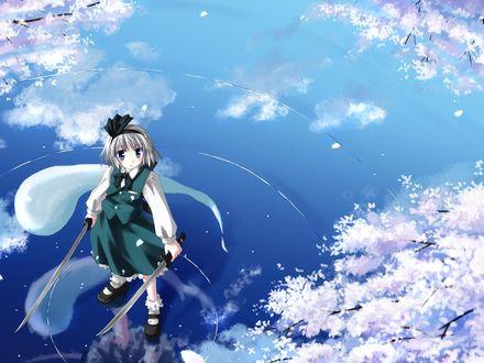 Обои Konpaku Youmu с двумя клинками в руках стоит на воде и любуется цветением сакуры, игра Touhou / Восток