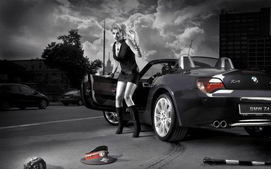 Обои Девушка на BMW сбила гаишника и не знает что делать