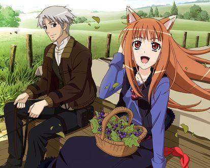 Обои Хоро с корзинкой ягод на коленях, аниме 'Волчица и пряности'