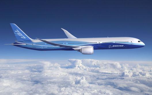 Обои Самолёт 'Боинг-787' в полёте