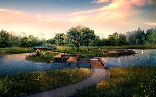 Обои Красивый парк с рекой