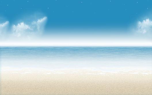 Обои Красивый океан и звезды
