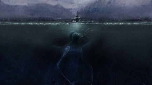 Обои Ктулху ждет корабль во время шторма