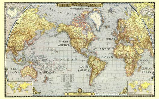 Обои Карта мира (The world map? the national geographic socety)
