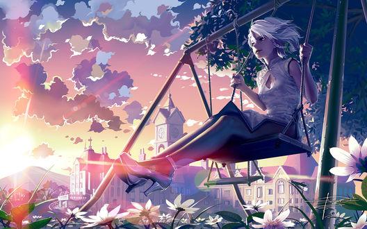 Обои Izayoi Sakuya / Сакуя Изаёи из аниме-игры Тохо / Touhou Project катается на качелях