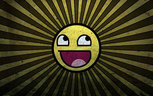 Обои смеющийся смайлик в виде солнца