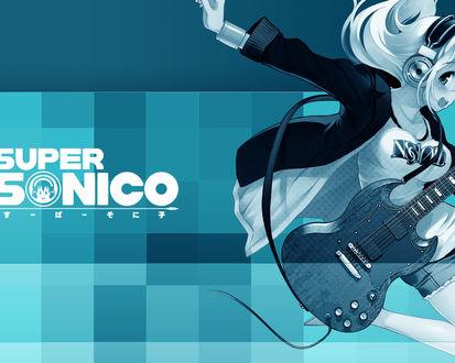 Обои Аниме-девушка в наушниках и с гитарой (Super sonico)