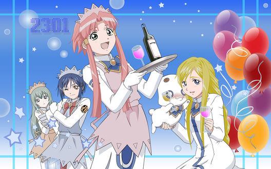 Обои Алиса, Айко, Акари и Алиссия, фанарт по аниме 'Ария' (2301)