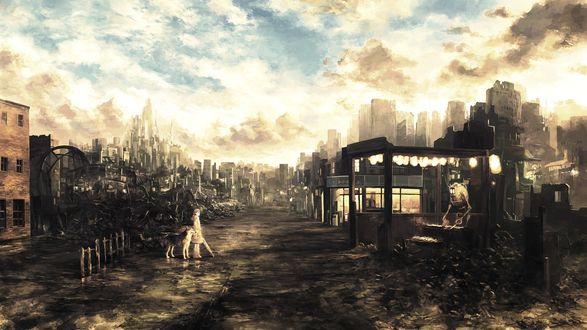 Обои В разрушенном городе остались только девочка со своей собакой