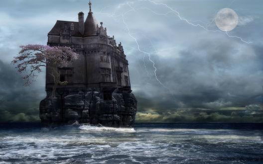 Обои Замок на каменном острове во время грозы