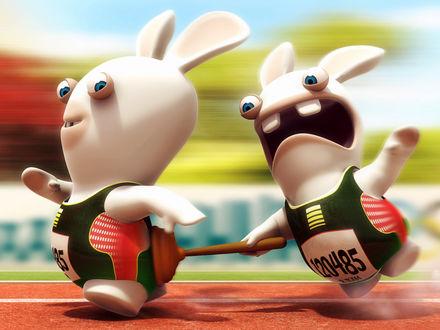 Обои Соревнования у бешеных кроликов (Rayman Raving Rabbids)