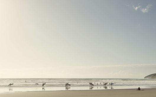 Обои Серферы на побережье океана
