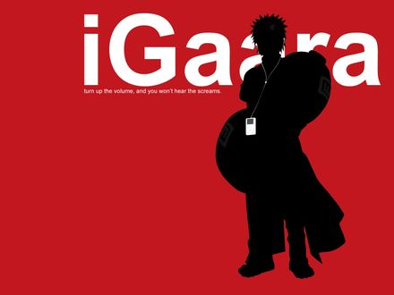 Обои anime Naruto / аниме Наруто с iPod (iGaara turn up the volume, and you won`t hear the screams)
