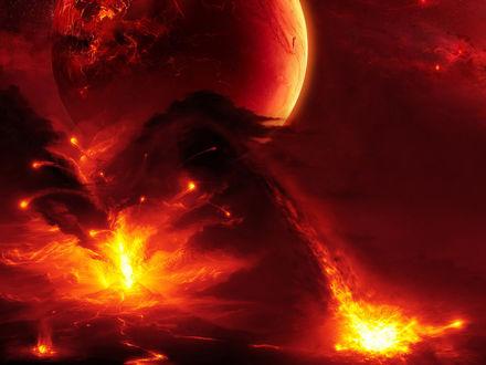Обои Извергающиеся вулканы на неизвестной планете
