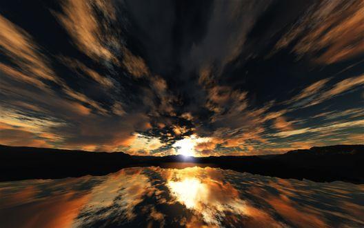Обои Красивый закат отражается в озере