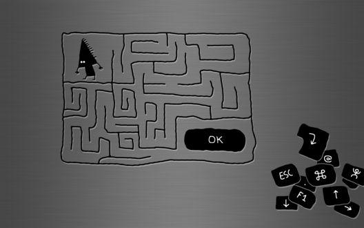 Обои Лабиринт для курсора, который должен дойти до кнопки ОК, в уголке валяется еще много кнопочек (esc, f1)