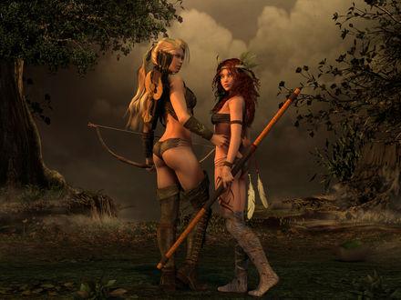 Обои Девушки охотники с голыми попками в лесу