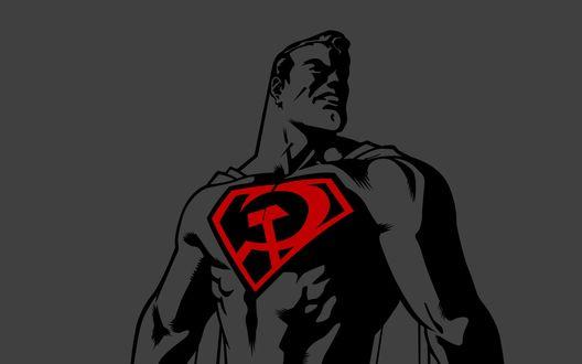 Обои Супергерой Советского Союза с серпом и молотом на груди