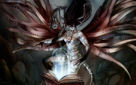 Обои Темный маг колдует над книгой заклинаний