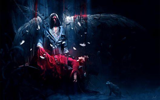 Обои Темный ангел над умирающей прикованной девушкой