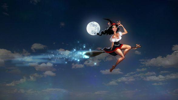 Обои Веселая ведьмочка в ночном небе