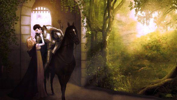 Обои Девушка провожает своего возлюбленного - храброго рыцаря на войну