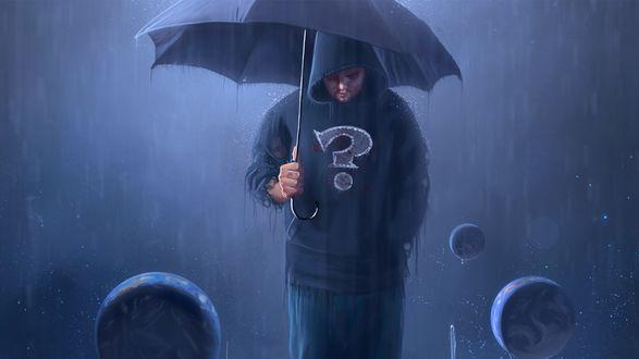 Обои Парень в футболке со знаком вопроса и зонтом под дождем, вокруг него летают планеты