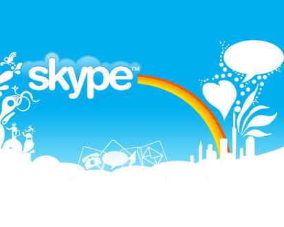 Обои Радужный голубой мир Скайпа (Skype tm)