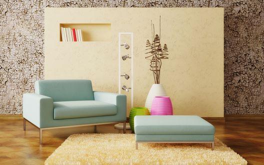 Обои Красивое кресло и три разноцветных вазы